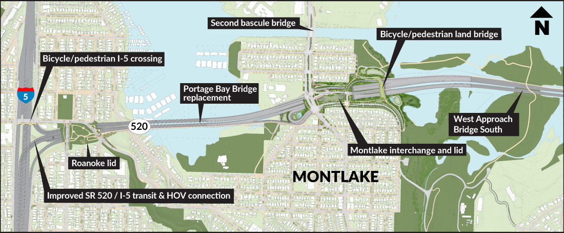 Map of construction in the Montlake area