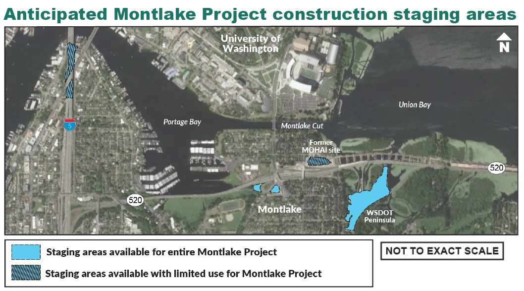 Map showing construction staging areas in the Montlake area