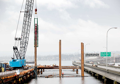 A pile driver in Lake Washington